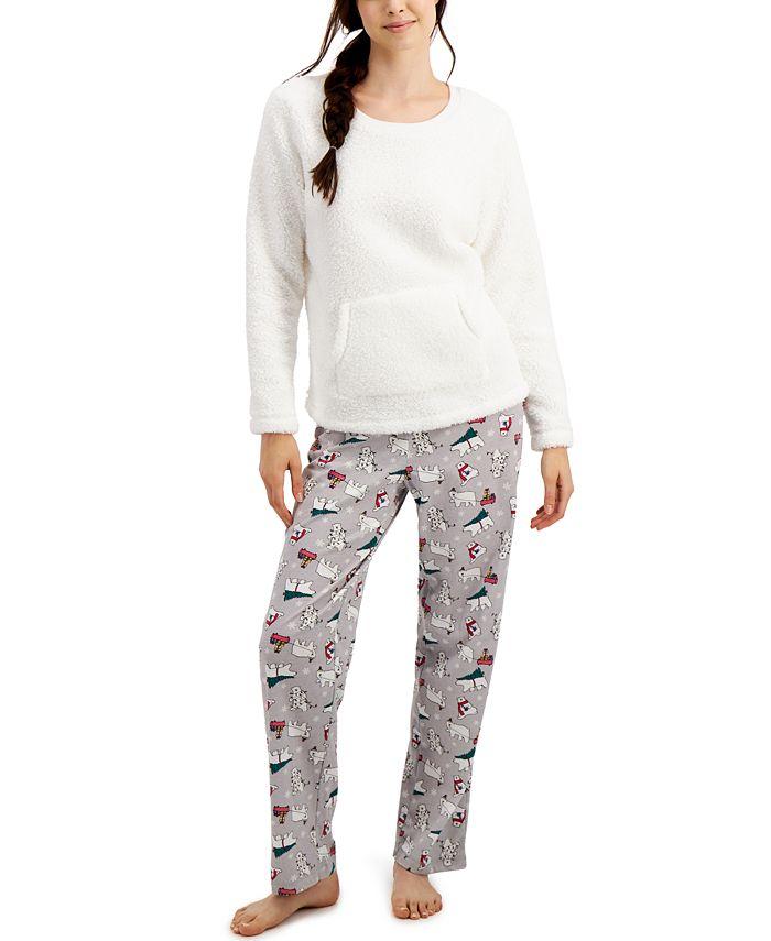 Family Pajamas - Sherpa Top & Printed Pants Pajama Set
