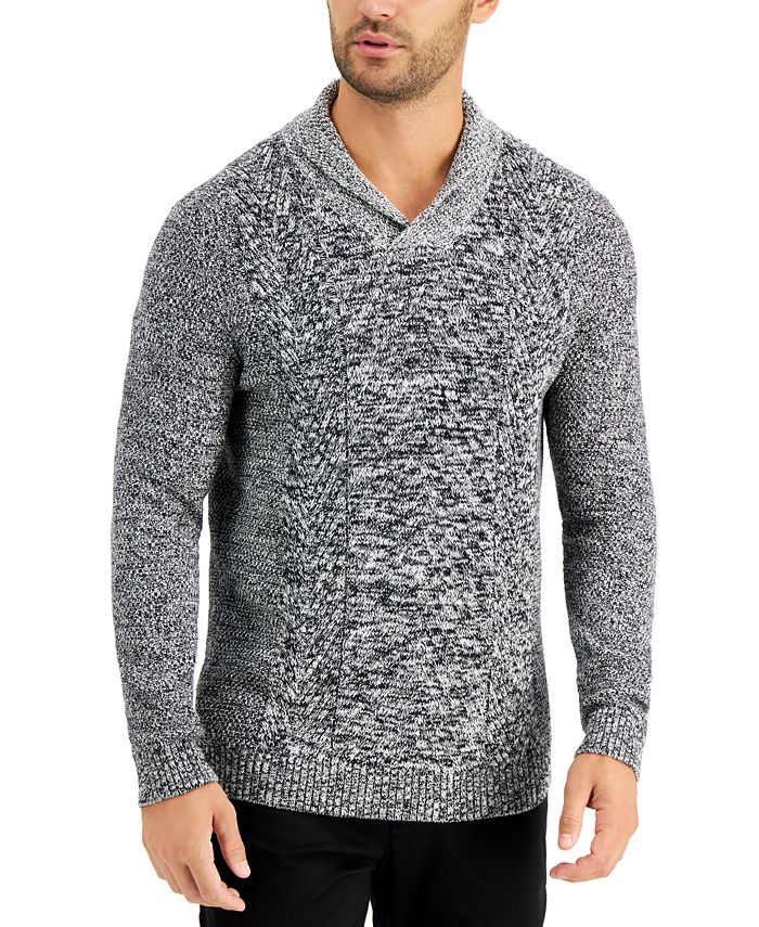 Tasso Elba - Men's Chunky Marbled Shawl Sweater, Created for Macy's
