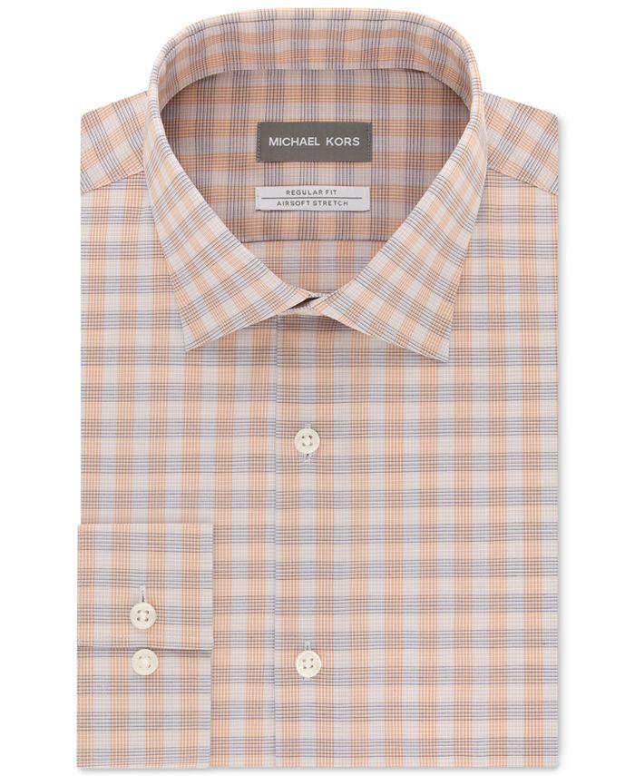 Michael Kors - Men's Classic/Regular-Fit Airsoft Non-Iron Performance Stretch Check Dress Shirt