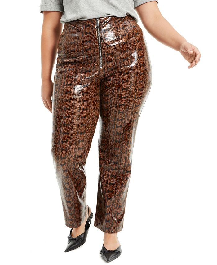 Danielle Bernstein - Plus Size Faux-Snakeskin Pants
