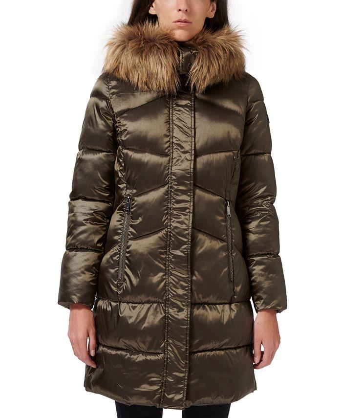Sam Edelman - High-Shine Faux-Fur-Trim Hooded Puffer Coat