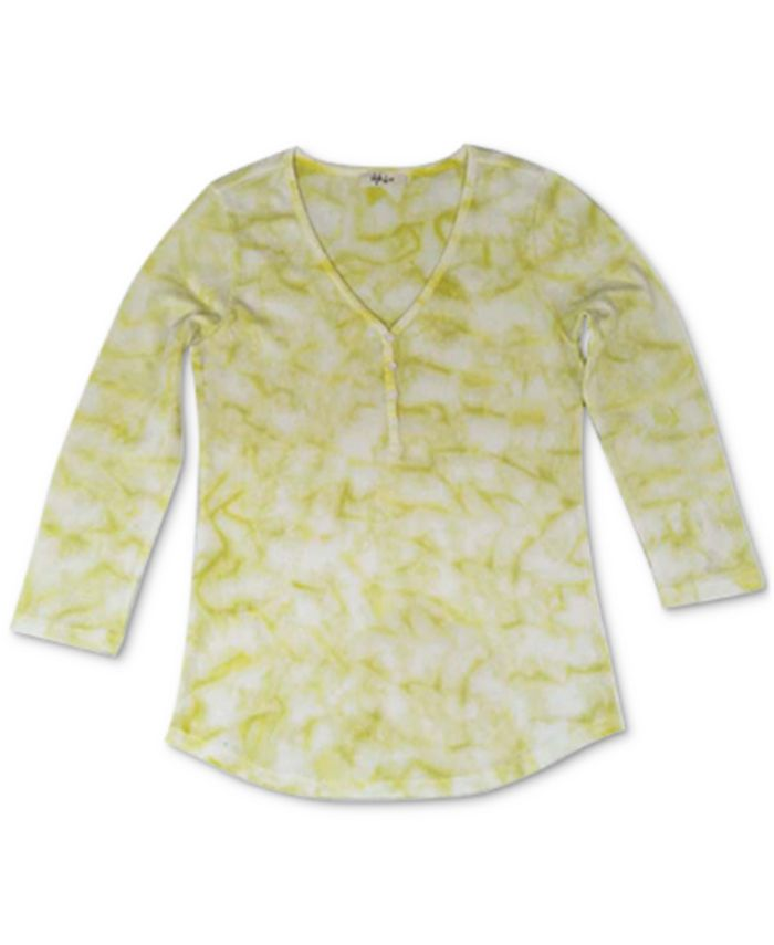 Style & Co - Tie-Dyed Waffle-Knit Henley Top