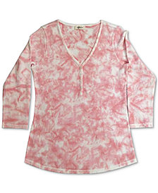 Style & Co Tie-Dyed Waffle-Knit Henley Top, Created for Macy's