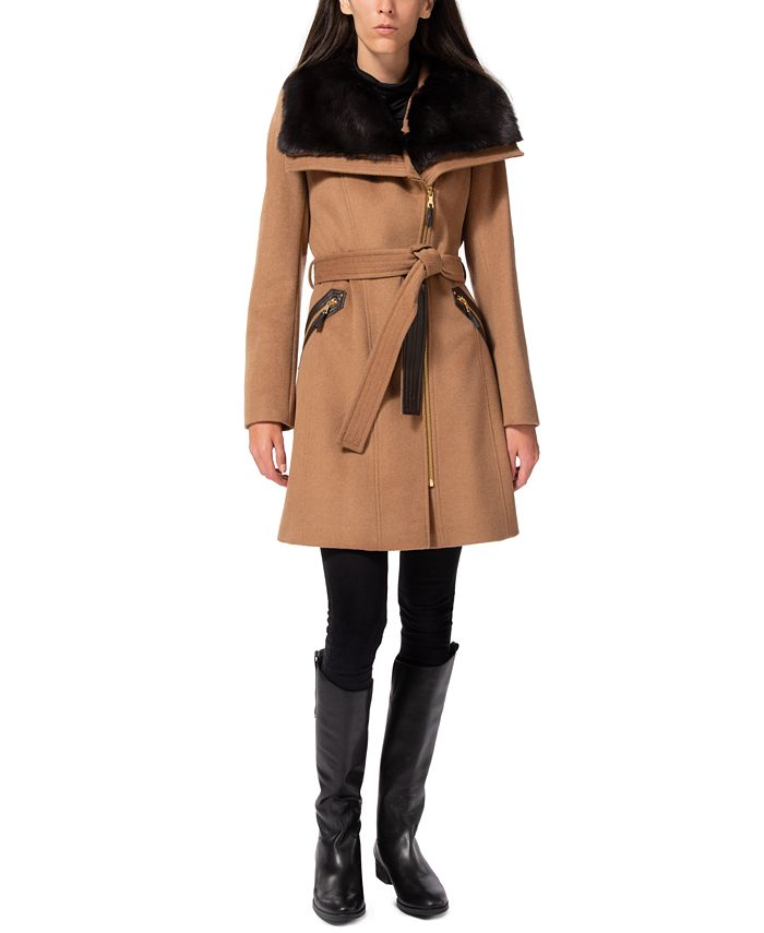 Via Spiga - Asymmetrical Faux-Fur-Collar Coat