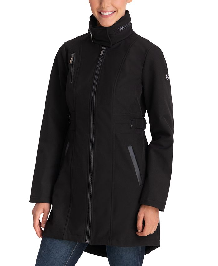 Michael Kors - Faux-Leather-Trim Hooded Raincoat