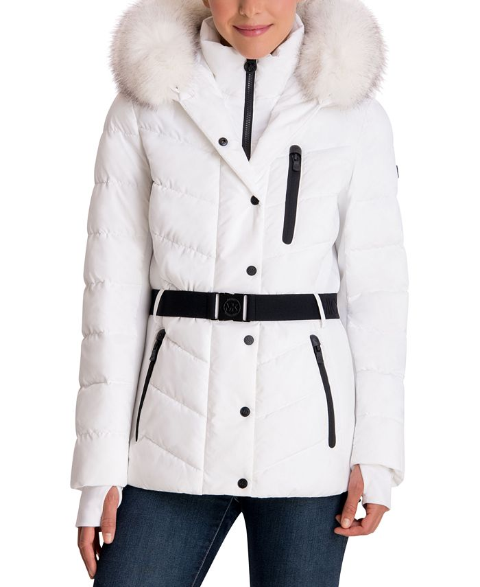 Michael Kors - Belted Faux-Fur Trim Hooded Puffer Coat
