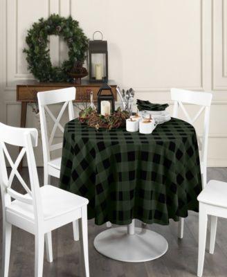 "Farmhouse Living Holiday Buffalo Check Round Tablecloth 70"" Round"