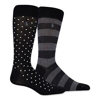 2-Pack Polo Ralph Lauren Men's Dot/Rugby Stripe Slack Socks