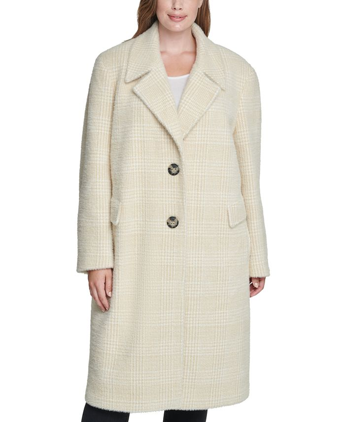 Calvin Klein - Plus Size Plaid Reefer Coat