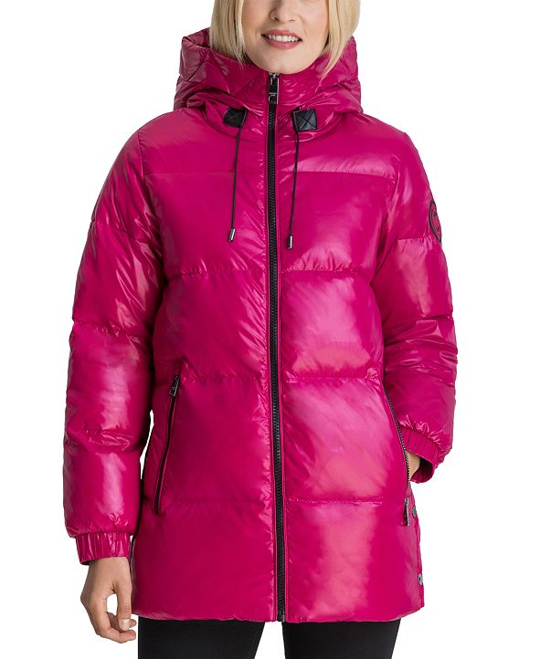 Michael Kors High-Shine Hooded Down Puffer Coat, Created for Macy's