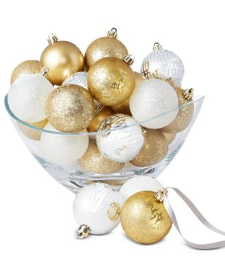 Shine Bright White, Gold & Silver Shatterproof Ornaments, Set of 30, Created for Macy's