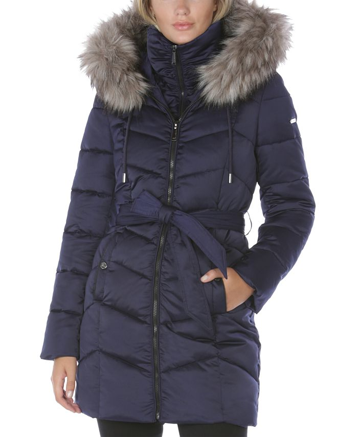 Laundry by Shelli Segal - Belted Faux-Fur-Trim Hooded Puffer Coat