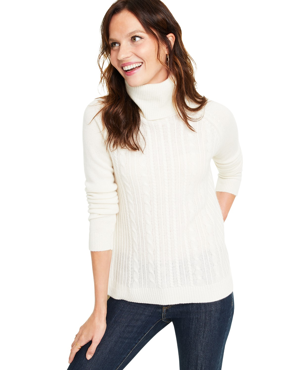 Charter Club Cashmere Cable-Knit Turtleneck Sweater, Created for Macy's