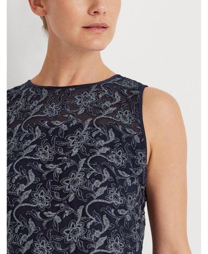 Lauren Ralph Lauren Metallic Floral Embroidered Dress   & Reviews - Dresses - Women - Macy's