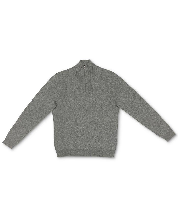 Alfani - Men's Quarter-Zip Ribbed Placket Sweater