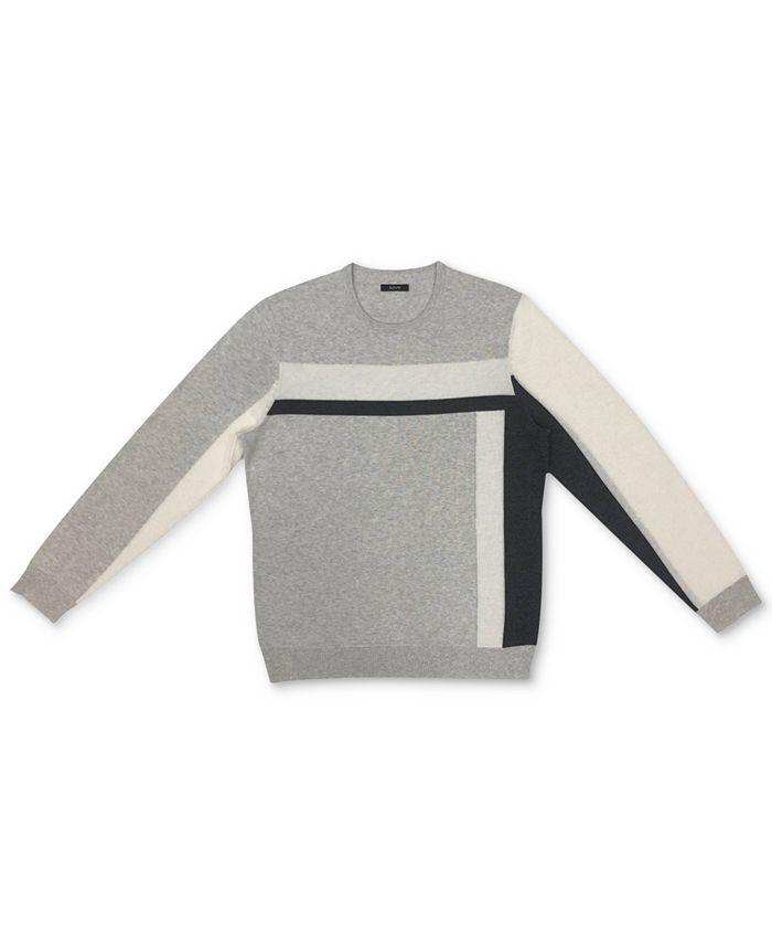 Alfani - Men's Vertical Blocked Crewneck Cotton Sweater