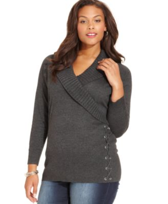Style&co. Plus Size Shawl-Collar Lace-Up Sweater - Sweaters - Plus ...