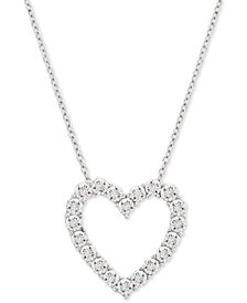 "Diamond Heart 18"" Pendant Necklace (1/10 ct. t.w.) in Sterling Silver"