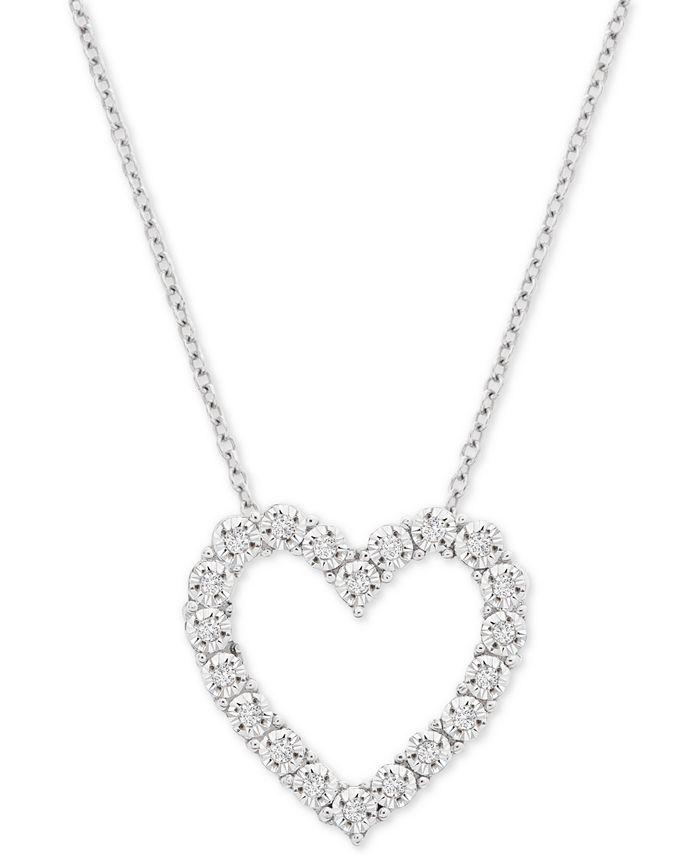 "Macy's - Diamond Heart 18"" Pendant Necklace (1/10 ct. t.w.) in Sterling Silver"