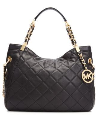 MICHAEL Michael Kors Susannah Medium Quilted Shoulder Tote ... : michael kors black quilted handbag - Adamdwight.com