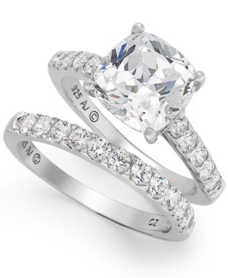 arabella sterling silver ring set swarovski zirconia bridal ring and band set 8 ct - Macy Wedding Rings