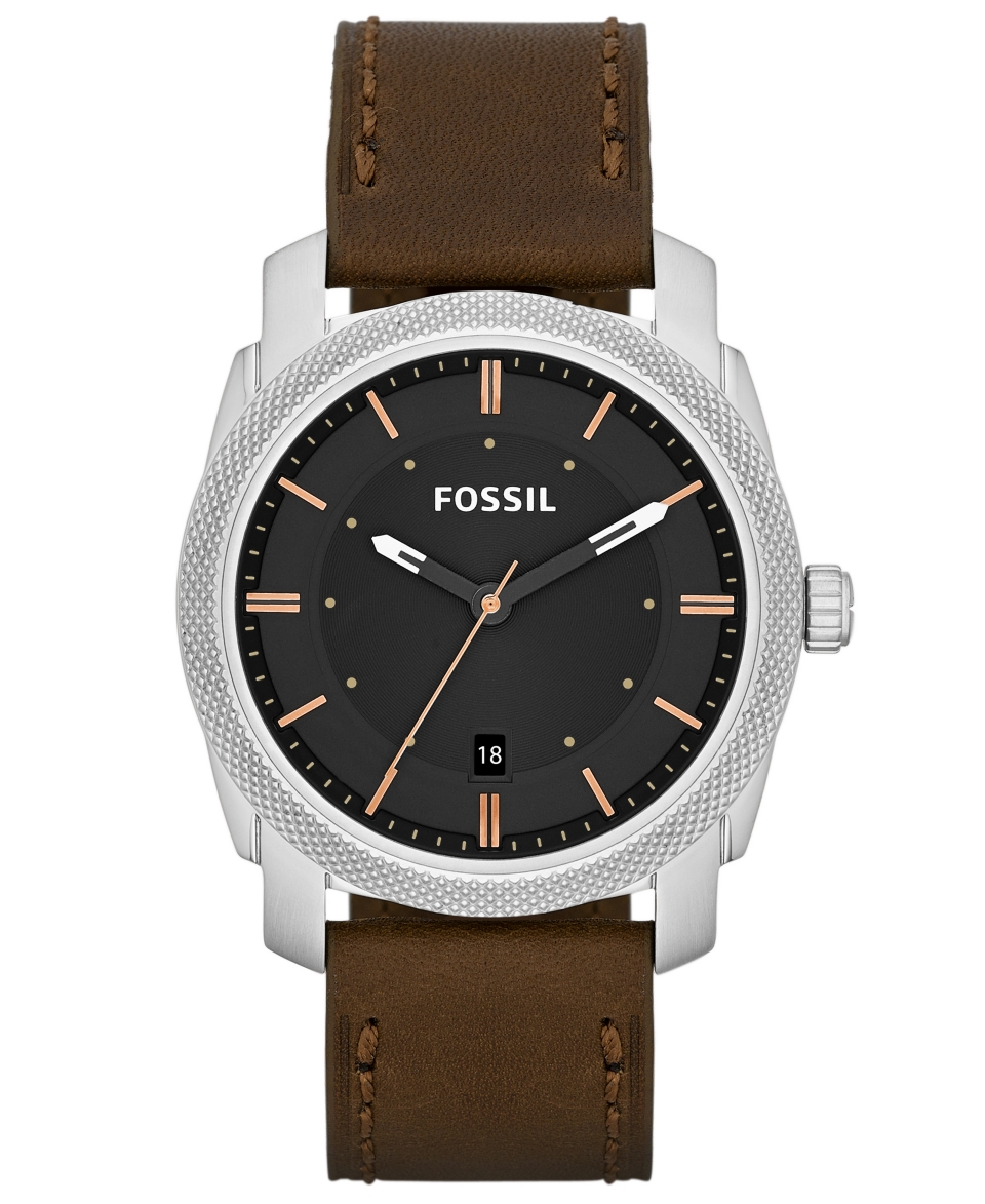 Fossil Mens Machine Brown Leather Strap Watch 42mm FS4860   Watches   Jewelry & Watches