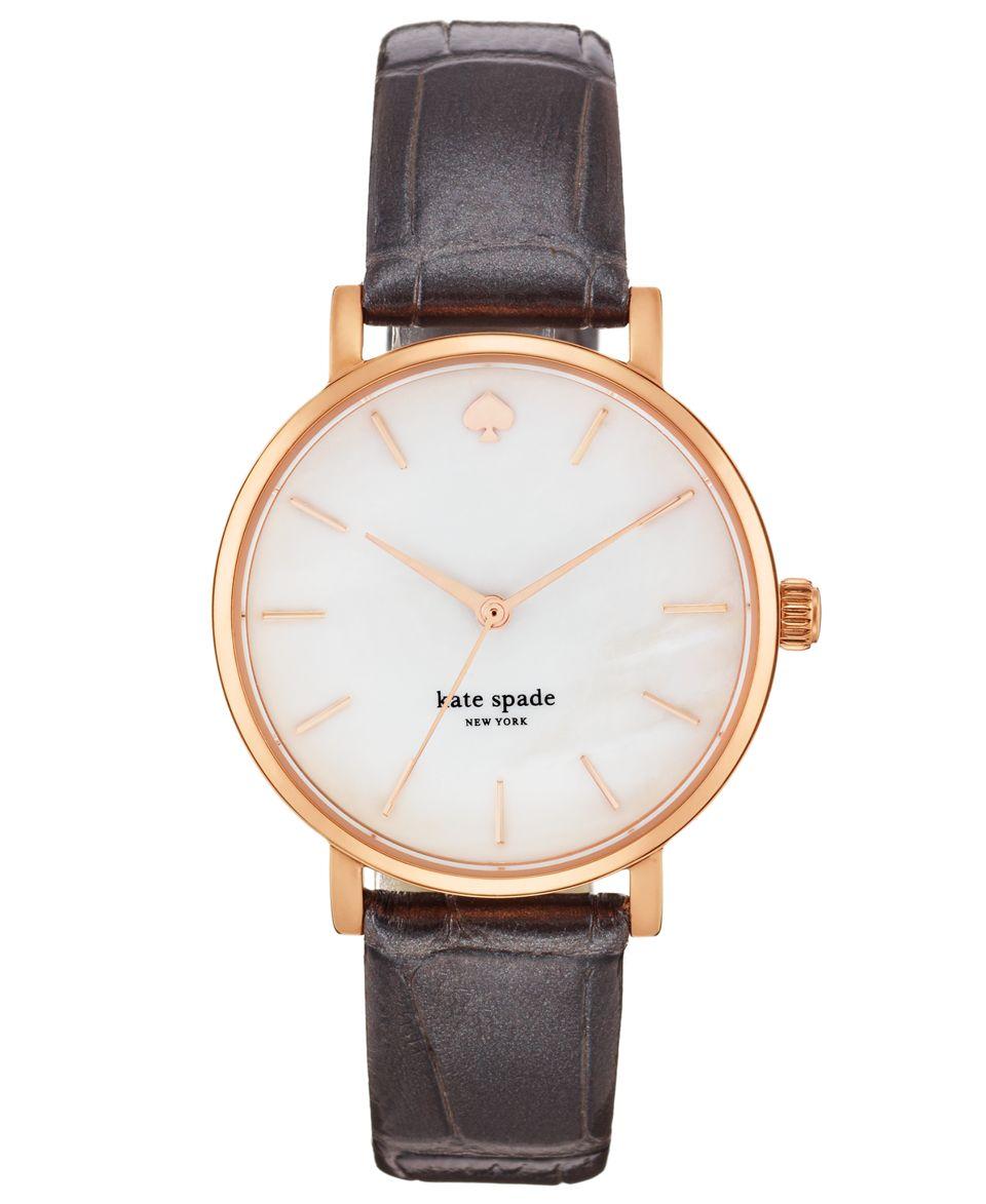 kate spade new york Watch, Womens Metro Plum Alligator Embossed Leather Strap 34mm 1YRU0225   Watches   Jewelry & Watches