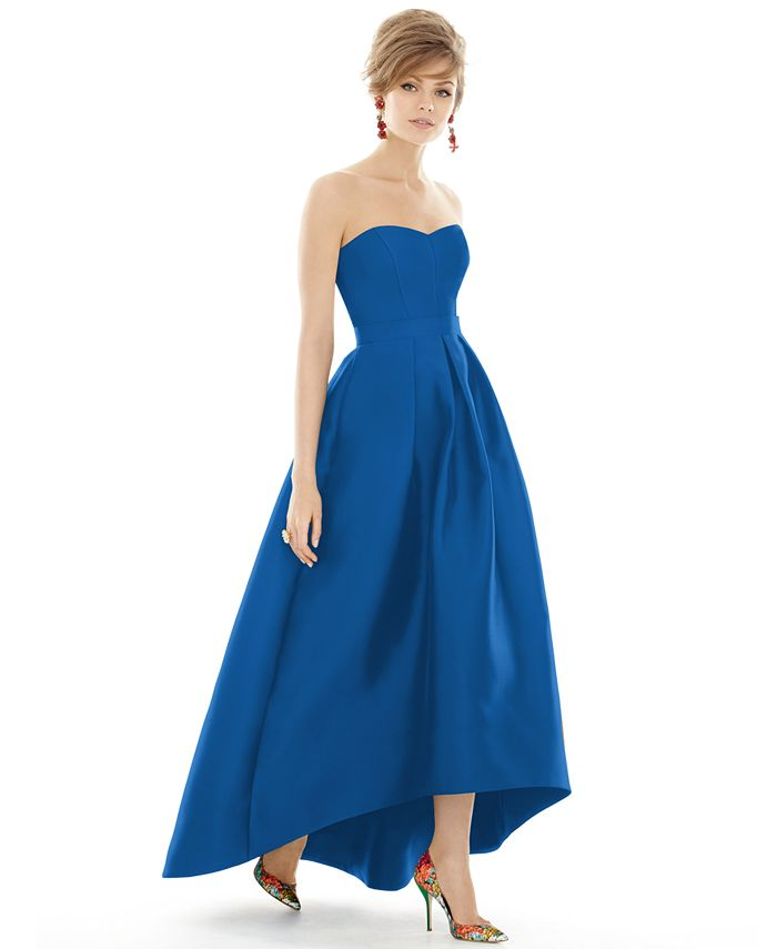 Alfred Sung - Strapless High-Low Maxi Dress
