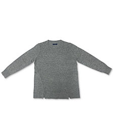 Karen Scott Crewneck Notch-Hem Sweater, Created for Macy's