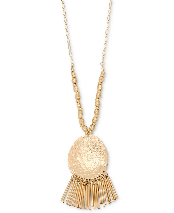 "Style & Co - Gold-Tone Hammered Disc & Tubular Fringe Long Pendant Necklace, 35-1/2"" + 3"" extender"