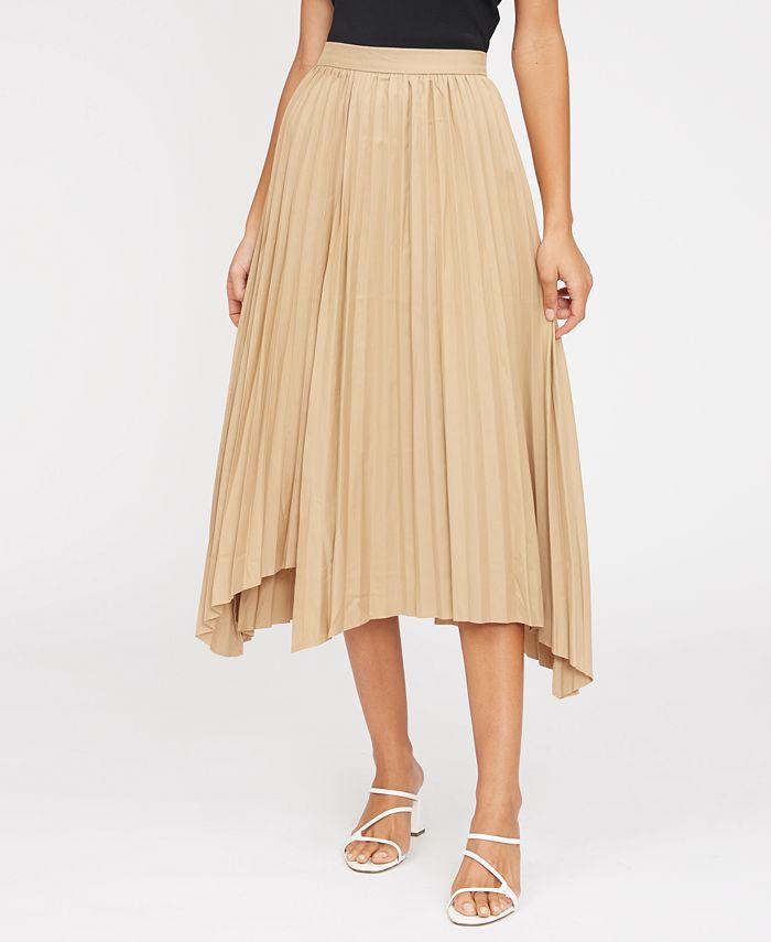 Lucy Paris - Avery Pleated Asymmetrical-Hem Skirt