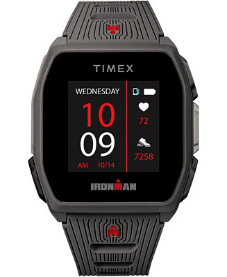Timex Men S Ironman R300 Dark Gray Silicone Strap Gps Smart Watch With Heart Rate 41mm Reviews Watches Jewelry Watches Macy S