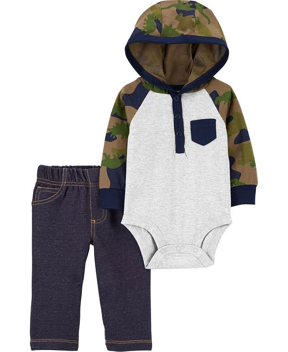 Carter's Baby Boy  2-Piece Hooded Bodysuit Pant Set