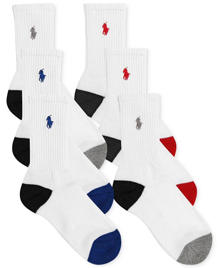 Polo Ralph Lauren - Boys' or Little Boys' 6-Pack Color-Blocked Crew Socks