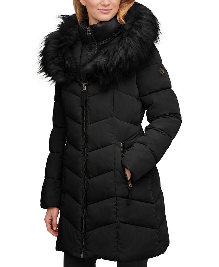 Calvin Klein - Faux-Fur-Trim Hooded Puffer Coat