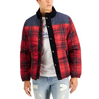 Sun + Stone Men's Earl Colorblocked Plaid Jacket