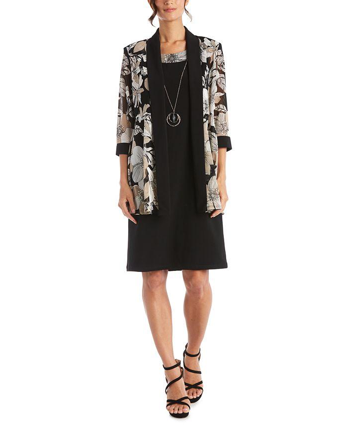 R & M Richards - 2-Pc. Printed Jacket & Dress Set