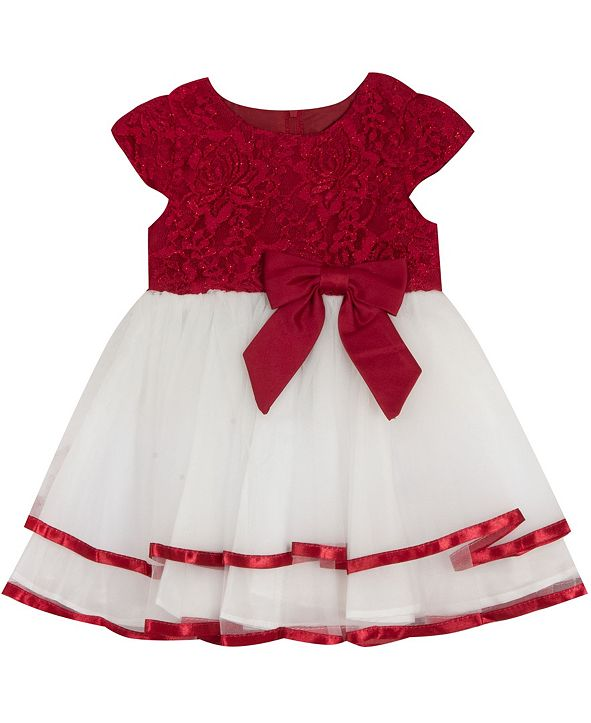 Rare Editions Baby Girls Lace Cap Sleeve Dress With Double Ribbon Hem