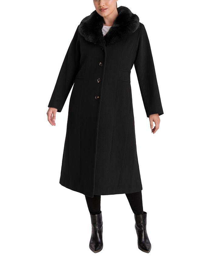 Anne Klein - Plus Size Faux-Fur Collar Maxi Coat