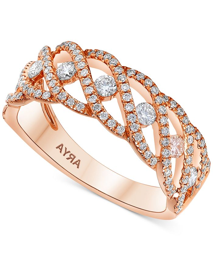 Macy's - Diamond Braided Statement Ring (5/8 ct. t.w.) in 14k Rose Gold