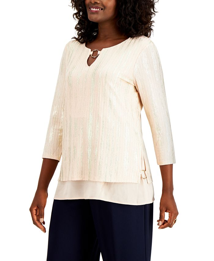 JM Collection - Metallic O-Ring Keyhole Top, Created for Macy's