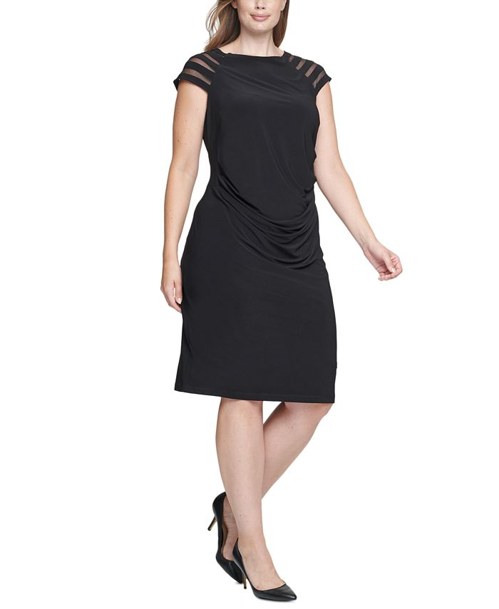 Jessica Howard - Plus Size Illusion-Sleeve Sheath Dress