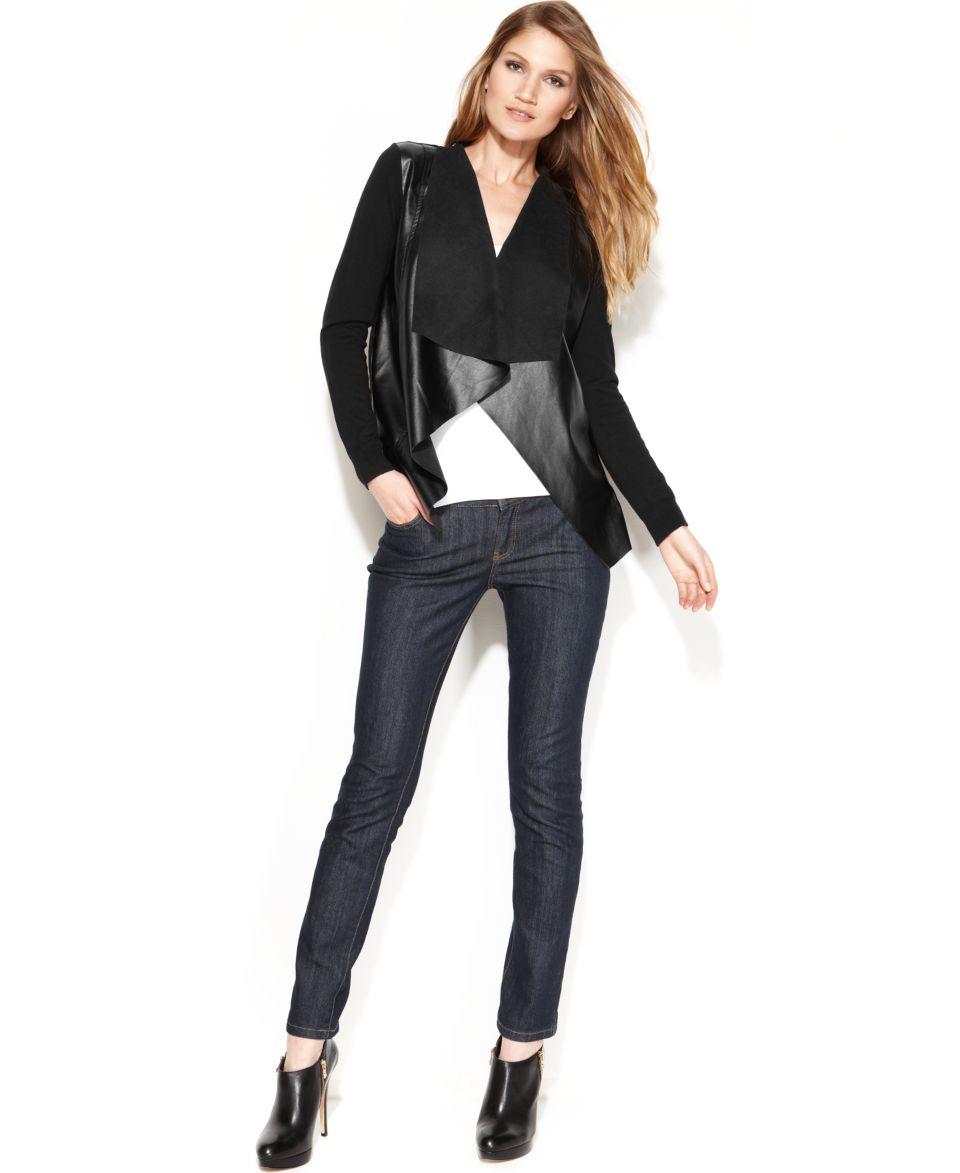 MICHAEL Michael Kors Faux Leather Moto Jacket, Sleeveless Cowl Neck Top & Skinny Jeans   Women