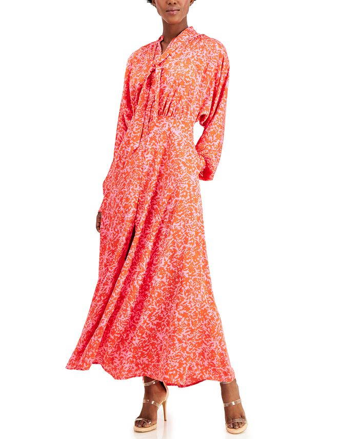 Inc International Concepts Inc Printed Tie Neck Maxi Dress Created For Macy S Reviews Dresses Women Macy S