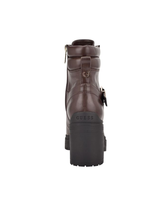GUESS Women's Canaly Lug Sole Block Heel Combat Boots & Reviews - Boots - Shoes - Macy's