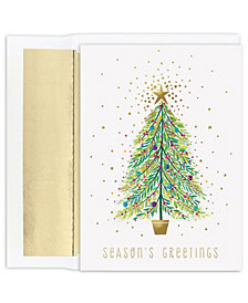 Masterpiece Cards Sparkle Tree Holiday Boxed Cards, 18 Cards and 18 Foil Lined Envelopes