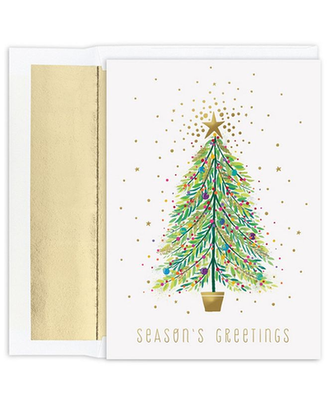 Masterpiece Studios Masterpiece Cards Sparkle Tree Holiday Boxed Cards, 18 Cards and 18 Foil Lined Envelopes