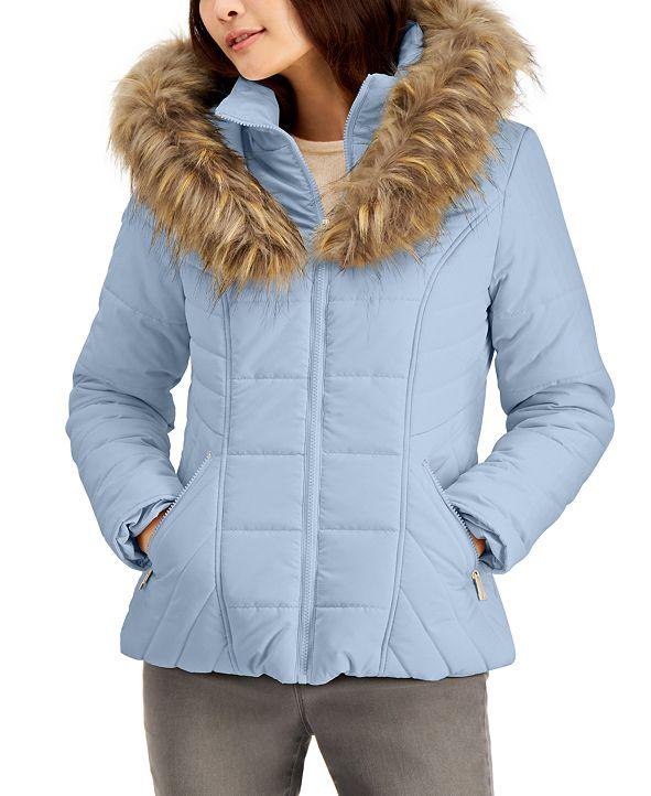 Maralyn & Me Juniors' Hooded Faux-Fur-Trim Puffer Coat