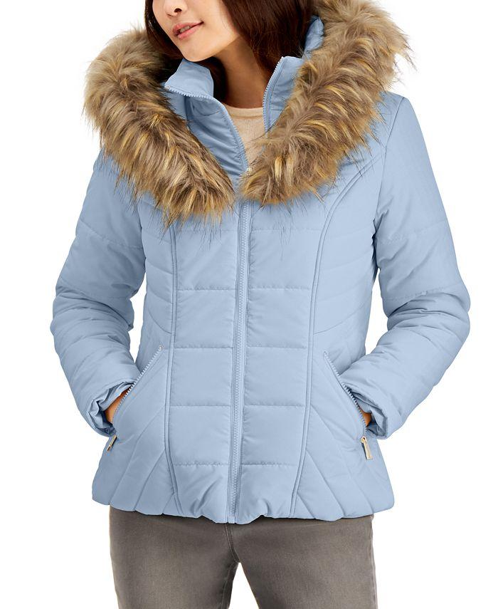 Maralyn & Me - Juniors' Hooded Faux-Fur-Trim Puffer Coat
