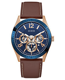 GUESS Men's Brown Leather Strap Watch 43mm